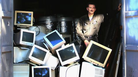 Computer monitors undergoing recycling June 4, 2007 in Sydney Australia.
