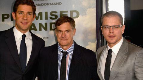 From left, John Krasinski, Gus Van Sant and Matt Damon promote what Sheril Kirshenbaum says will be a controversial film.