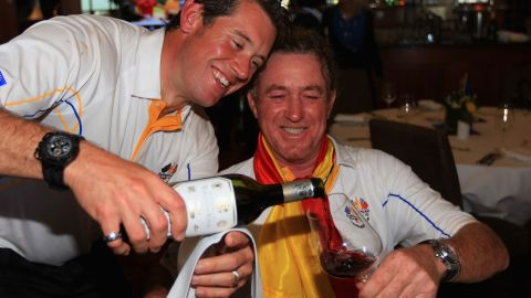 Jimenez and Ryder Cup teammate Lee Westwood toast Europe's victory in the 2010 event at Celtic Manor in Newport, Wales.