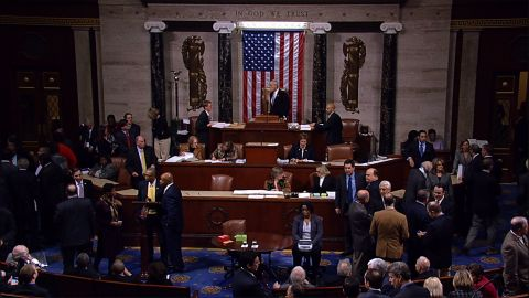 A image on House TV shows the House floor during fiscal cliff voting on January 1, 2013.