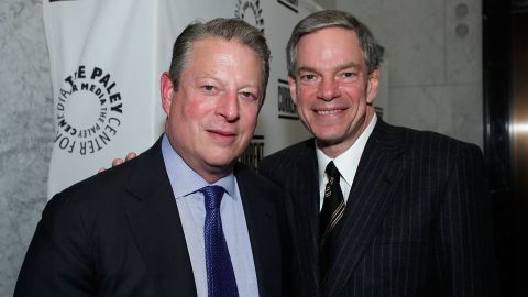 Al Gore, chairman and co-founder of Current TV, and Joel Hyatt, executive vice chairman and co-founder of Current TV, attend the Current TV Upfront at the Paley Center For Media on February 9, 2011 in New York City.