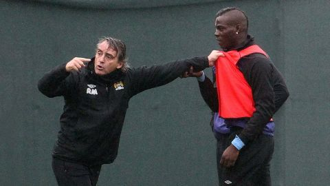 """His future at the English Premier League champions had been in doubt since his training ground bust-up with manager Roberto Mancini in early January, when coaching staff had to intervene to separate the pair. Mancini later downplayed the tussle, sparked by Balotelli's hostile tackle on a fellow player, as """"nothing unusual."""""""