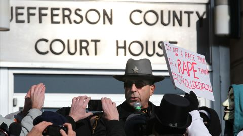 Jefferson County sheriff Fred Abdullah addresses the rape protest crowd, largely hostile to him, in the city of Steubenville at a rally on the Jefferson Co. Courthouse steps on Sat. Jan. 5, 2012.  He defended his own and his department's determination in pursuit of rapists.