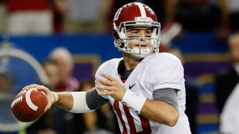 ATLANTA, GA - DECEMBER 01: Quarterback AJ McCarron #10 of the Alabama Crimson Tide drops back to pass against the Georgia Bulldogs during the first half of the SEC Championship Game at the Georgia Dome on December 1, 2012 in Atlanta, Georgia. (Photo by Kevin C. Cox/Getty Images)