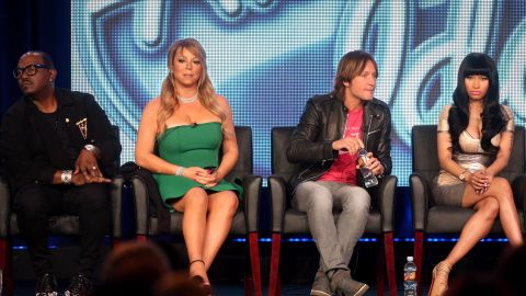 """Mariah Carey (2nd from left) was a judge on """"American Idol"""" with from left Randy Jackson, Keith Urban and Nicki Minaj."""