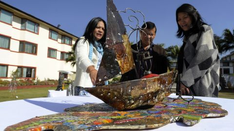This boat by artist Sushma Shakya was made by using tin cans, rods, nails and a portable gas stove.