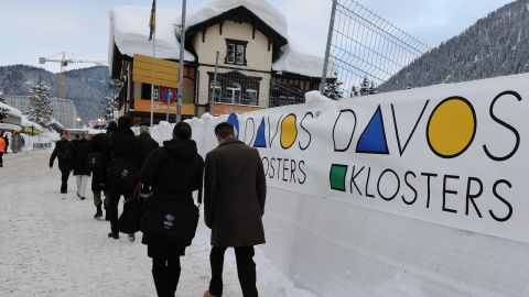 Delegates arrive at the congress hall at last year's World Economic Forum in the Swiss resort of Davos.