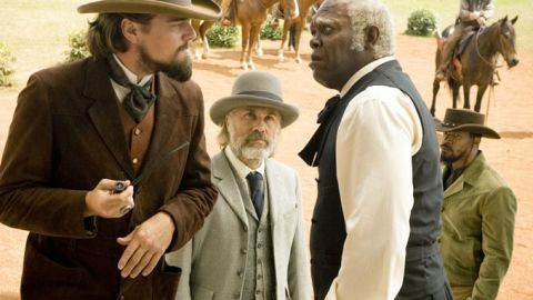 """""""Django Unchained's"""" Christoph Waltz, center, was nominated for best actor in a supporting role. His costars, however, were not. The oft-snubbed Leonardo DiCaprio, left, and Samuel L. Jackson, right, didn't receive nods despite garnering critical acclaim as a plantation owner and his loyal slave."""