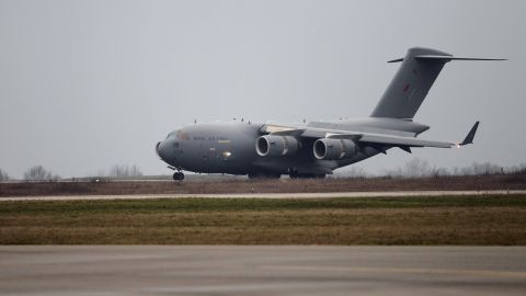A British army Boeing C-17 cargo plane from British Brize Norton base lands Sunday at the Evreux military base in France to take supplies to Bamako.