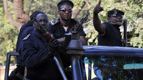 Malian police patrol in the capital of Bamako on Sunday, January 13.