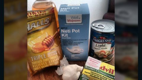 """<a href=""""http://ireport.cnn.com/docs/DOC-908483"""">Christen Lassiter </a>from Miami says says she couldn't keep any food down when she had the flu, so she started taking the items that are in her flu survival kit, such as chicken soup and tea with garlic."""