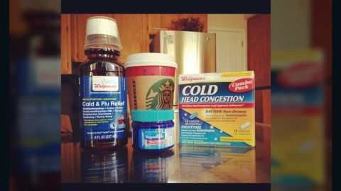 """""""I'm regretting not getting the flu shot this year,"""" said <a href=""""http://ireport.cnn.com/docs/DOC-908899"""">Jaspreet Sangha </a>from San Jose, California. She says she is holding strong with her flu survival kit, which is comprised of cough syrup, vapor rub, vitamin C, Starbucks coffee, Asian ginger tea and a variety of medications."""
