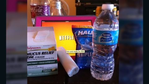 """Las Vegas junior high teacher <a href=""""http://ireport.cnn.com/docs/DOC-909524"""">Amanda Hanson</a> is out with the flu. She says water, medicine and long hours of watching movies on Netflix are helping her recover."""