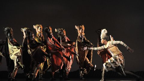 """South African Puleng March (right) as Nyala, during a """"Lion King"""" performance in Singapore on March 9, 2011."""