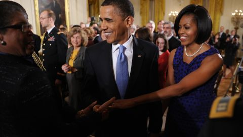 """Obama transitioned from a daytime meeting with Mexico's first lady to an awards ceremony on February 25, 2010, <a href=""""http://mrs-o.com/newdata/2010/2/26/lovely-knots.html"""" target=""""_blank"""" target=""""_blank"""">wearing the same Jason Wu dress</a>, according to the style blog Mrs. O."""