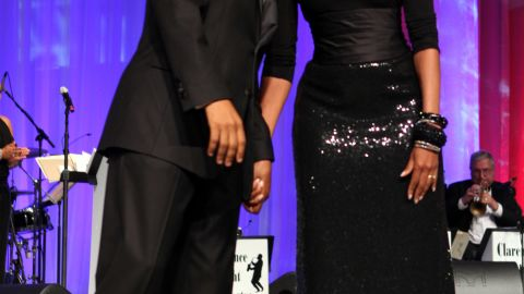 The first lady worked her signature elegance at the Congressional Black Caucus' Phoenix Awards in 2011, pairing a floor length, a double-face paillette fishtail skirt by Michael Kors with a black top and a Peter Soronen corset belt, Taylor said.