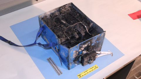 This battery was involved in a fire aboard a Japan Airlines Boeing 787 January 7 in Boston.