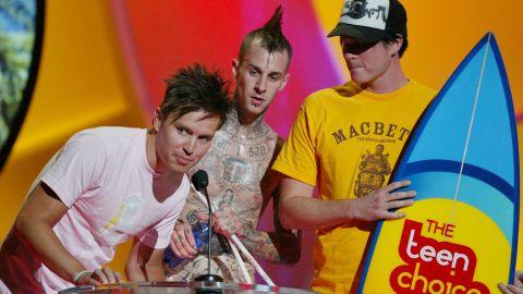 Blink-182 in 2004: Mark Hoppus, left; Travis Barker, center; and Tom DeLonge, right