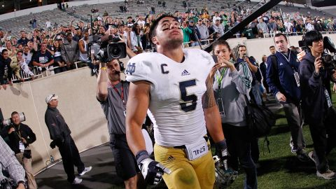 Te'o reacts after Notre Dame beats Michigan State 20-3 at Spartan Stadium in East Lansing, Michigan, on September 15, 2012.