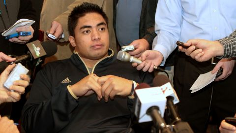 Te'o, a Heisman Trophy finalist, answers questions from reporters during an informal news gathering at the Marriott Marquis Hotel on December 7, 2012, in New York City a day before the presentation of the winner.
