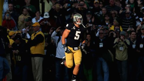 Te'o takes the field as part of senior introductions before a game against the Wake Forest Demon Deacons at Notre Dame Stadium on November 17, 2012.