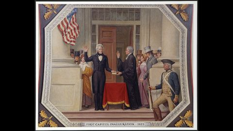 Andrew Jackson was inaugurated at the US Capitol in 1829. He was re-elected in 1833.