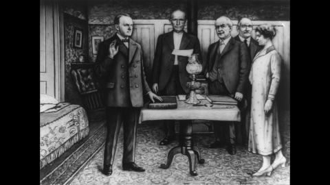 Calvin Coolidge takes the oath of office in Plymouth, Vermont, in August 1923. President Warren G. Harding had just died, and Coolidge was vice president. Coolidge's father, John, administered the oath. He was a notary public.