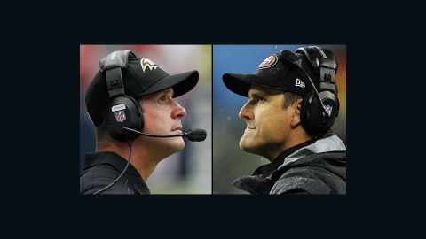 John Harbaugh, left, and Jim Harbaugh became the first siblings to face each other as coaches in a major sports match-up on Super Bowl Sunday in 2013. Older brother John Harbaugh's Baltimore Ravens won over the San Francisco 49ers.