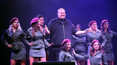 Web tycoon Kim Dotcom at his launch event Sunday for Mega, his new file-sharing site, in Auckland, New Zealand.