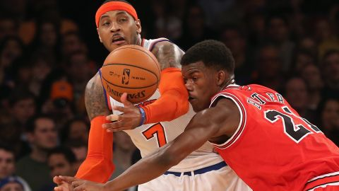 The New York Knicks' Carmelo Anthony, left, seen here in December, recently said he fasted for 15 days.