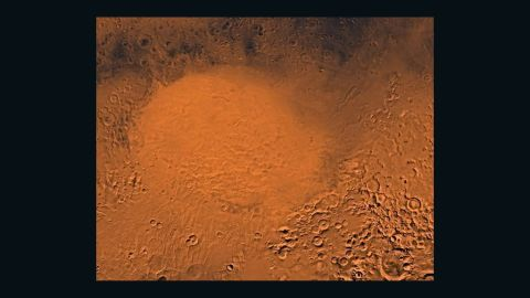 This shows the impact of a projectile, probably an asteroid, on Mars -- the 1,117- mile-diameter Hellas Basin, the largest basin on the planet.