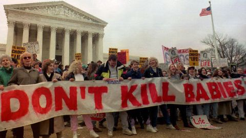 Demonstrators chant in front of the U.S. Supreme Court in this January 1993 file photo during the Right-to-Life March.