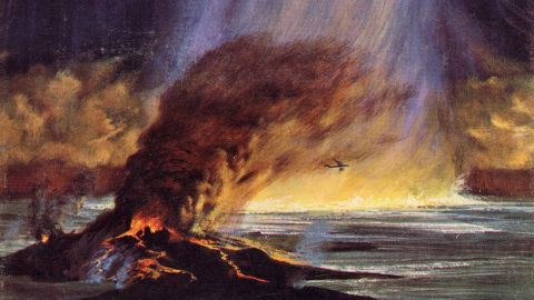 """The March 1966 cover of  Analog Science Fiction/Science Fact featured an illustration of an asteroid hitting Earth.  J.E. Enever published his ground-breaking article, """"Giant Meteor Impact,"""" in this issue, detailing what such strikes could do, and have done, to the Earth, with vivid prose and terrifying physics."""
