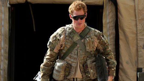 Prince Harry walks around his military base in Helmand province on his recent tour of duty.