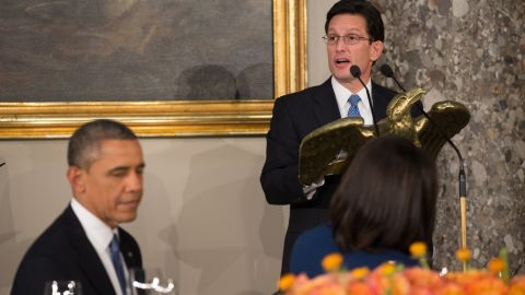 WASHINGTON, DC - JANUARY 21:  US Republican Representative and House Majority Leader Eric Cantor (R) of Virginia addresses US President Barack Obama attend the Inaugural Luncheon in Statuary Hall on Inauguration day at the U.S. Capitol building January 21, 2013 in Washington D.C. President Barack Obama and Vice President Joe Biden were ceremonially sworn in for their second term today. (Photo by Matt  Cavanaugh-Pool/Getty Images)