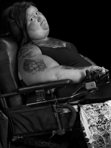 """Jessica, an accomplished visual artist, was born with spinal muscular atrophy. She teaches drawing as an adjunct professor at Georgia Perimeter College in Dunwoody. """"The greatest obstacles are those I set for myself,"""" she says. """"I define my strength daily by living for the moments of triumph where the label of 'weak' is obsolete."""""""