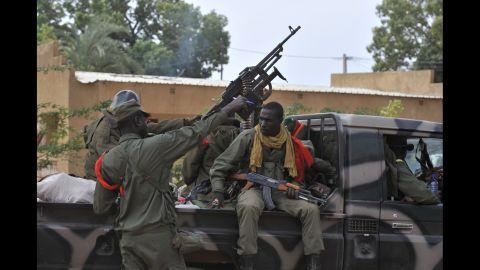 Malian soldiers patrol Diabaly on January 22.