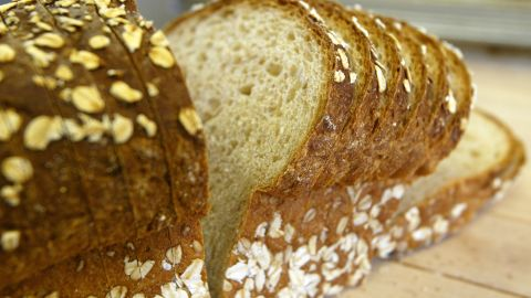 A loaf of sliced wheat bread is seen on the shelf at the Noe Valley Bakery and Bread Co. November 21, 2003 in San Francisco, California. The popularity of Atkins-style, low carbohydrate diets has contributed to the drop in consumption of bread in the U.S. over the past year as 40 percent of Americans ate less than in 2002. (Photo by Justin Sullivan/Getty Images)