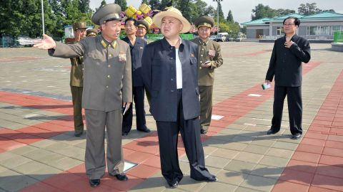 Kim visits the Rungna People's Pleasure Ground, under construction in Pyongyang, in a photo released in July 2012 by the KCNA.