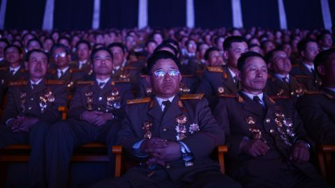 North Korean military personnel watch a performance in Pyongyang in April 2012.