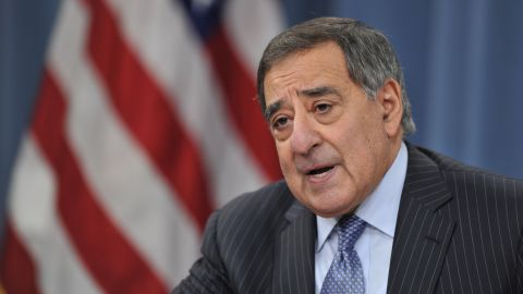 US Secretary of Defense Leon Panetta and Chairman of the Joint Chiefs of Staff General Martin E. Dempsey (not shown) announce lifting the ban on women serving in front line combat roles during a media briefing January 24, 2013 at the Pentagon in Washington, DC.