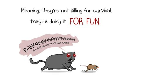 """Cats get equal time, although Inman has no illusions about their behavior. Witness this panel from <a href=""""http://theoatmeal.com/comics/cats_actually_kill"""" target=""""_blank"""" target=""""_blank"""">""""How much do cats actually kill?""""</a>"""