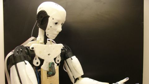 The InMoov Robot, designed by French sculptor Gael Langevin,  is comprised almost entirely of 3D printable parts, small motors and cheap circuit boards.