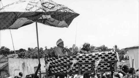 King Peggy in her palanquin during her coronation ceremony in Otuam. She still works at the embassy in the United States but uses all her holiday every year to go back to Ghana for a month.