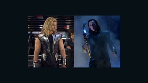 """The good-vs.-evil brotherly battle between Marvel comics characters Thor (Chris Hemsworth), left, and Loki (Tom Hiddleston) was the core of """"The Avengers."""""""