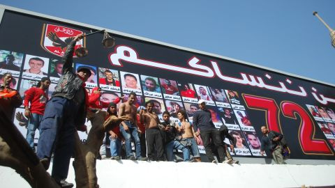 Some 15,000 fans of Al Ahly, many members of the club's Ahlawy ultras group, gathered in front of a billboard displaying pictures of the dead at the team's training ground to hear the verdict.