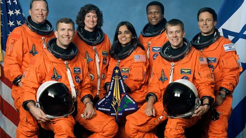 This undated NASA handout image obtained 26 August, 2003, shows the crew of the US space shuttle Columbia's final flight, which crashed February 1, 2003.