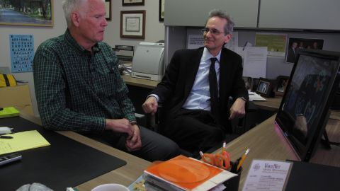 Wayne Clark, left, with researcher Dr. Gary Small.