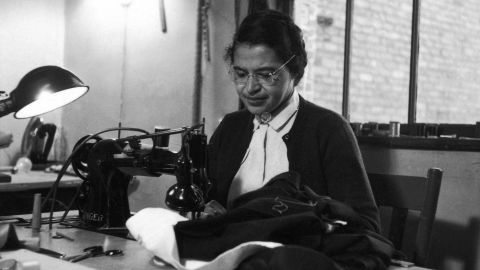 Parks works as a seamstress in February 1956, shortly after the beginning of the Montgomery bus boycott. She was born in Tuskegee, Alabama, on February 4, 1913.