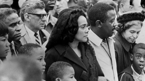 Parks, far right, joins a march through Memphis, Tennessee, on April 8, 1968 -- four days after the death of the Rev. Martin Luther King Jr. King organized the Montgomery bus boycott. His widow, Coretta Scott King, is seen at center next to the Rev. Ralph Abernathy.
